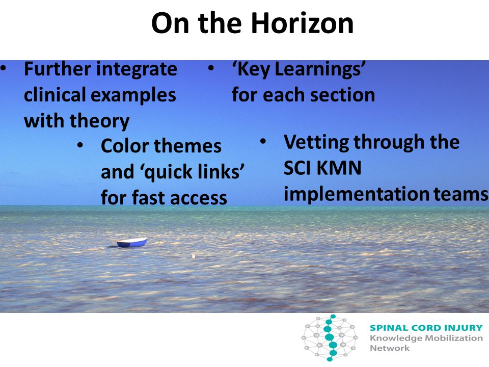 On the Horizon Further integrate clinical examples with theory Color themes and 'quick links' for fast access 'Key Learnings' for each section Vetting through the SCI KMN implementation teams