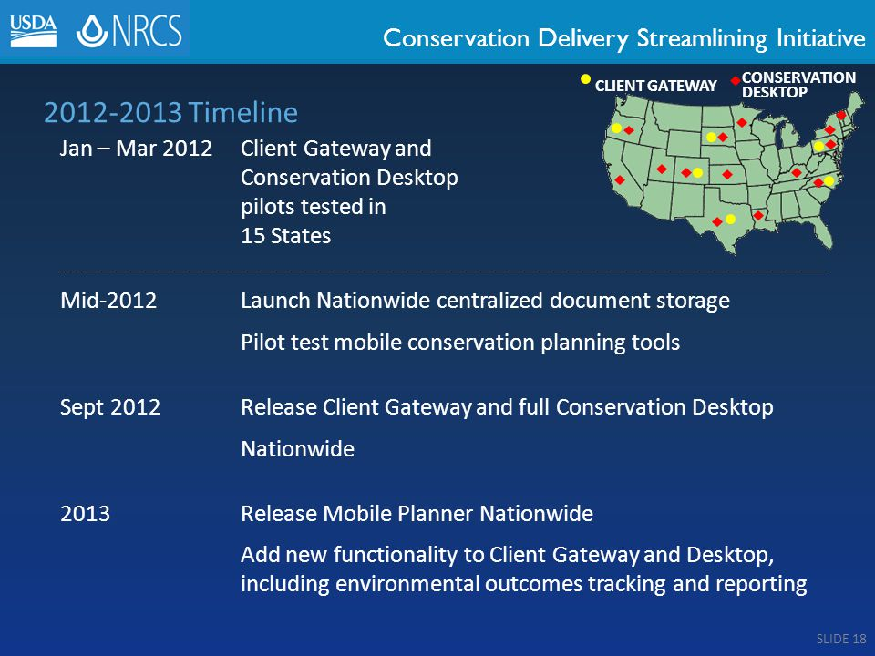 Conservation Delivery Streamlining Initiative 2012-2013 Timeline Jan – Mar 2012Client Gateway and Conservation Desktop pilots tested in 15 States _____________________________________________________________________________________________________________________________________________________________ Mid-2012Launch Nationwide centralized document storage Pilot test mobile conservation planning tools Sept 2012Release Client Gateway and full Conservation Desktop Nationwide 2013Release Mobile Planner Nationwide Add new functionality to Client Gateway and Desktop, including environmental outcomes tracking and reporting CLIENT GATEWAY CONSERVATION DESKTOP SLIDE 18