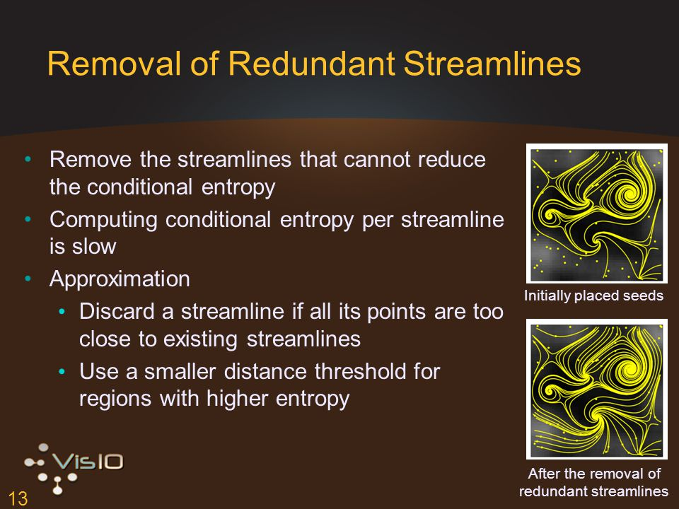 13 Removal of Redundant Streamlines Remove the streamlines that cannot reduce the conditional entropy Computing conditional entropy per streamline is slow Approximation Discard a streamline if all its points are too close to existing streamlines Use a smaller distance threshold for regions with higher entropy After the removal of redundant streamlines Initially placed seeds