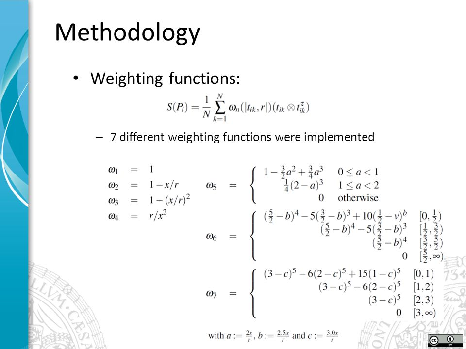 Weighting functions: – 7 different weighting functions were implemented Methodology