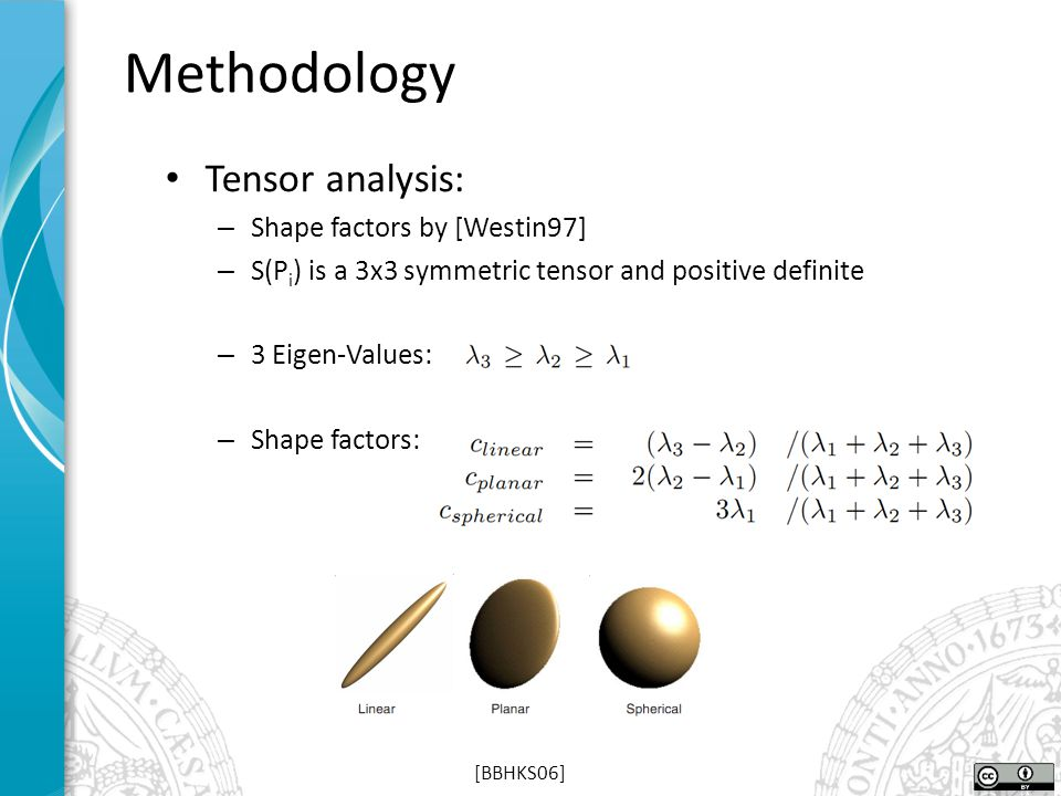 Tensor analysis: – Shape factors by [Westin97] – S(P i ) is a 3x3 symmetric tensor and positive definite – 3 Eigen-Values: – Shape factors: Methodolog