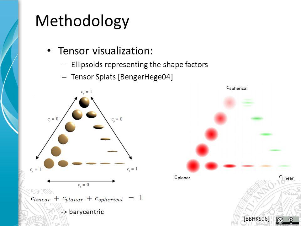Tensor visualization: – Ellipsoids representing the shape factors – Tensor Splats [BengerHege04] Methodology -> barycentric [BBHKS06]