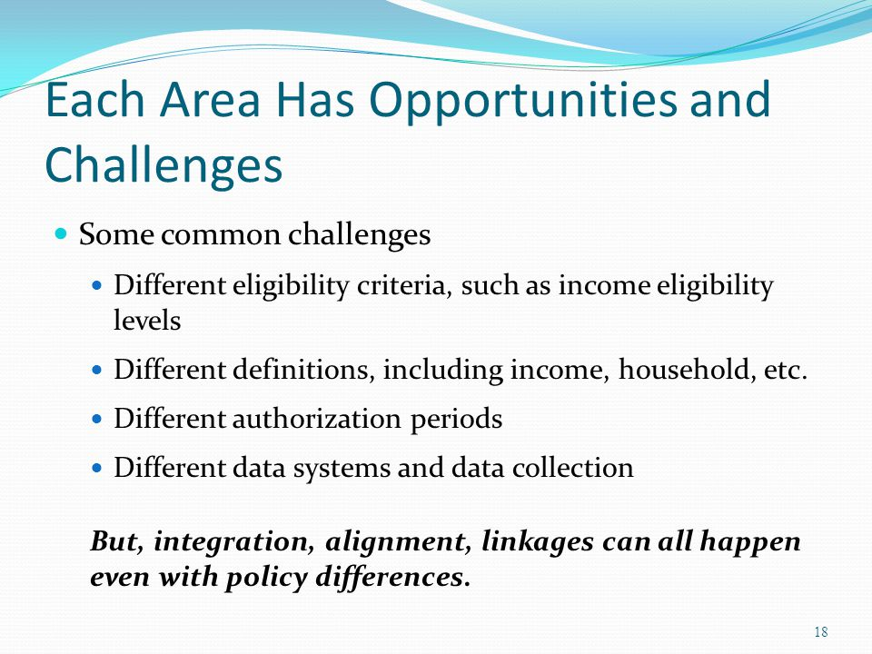 Each Area Has Opportunities and Challenges Some common challenges Different eligibility criteria, such as income eligibility levels Different definiti