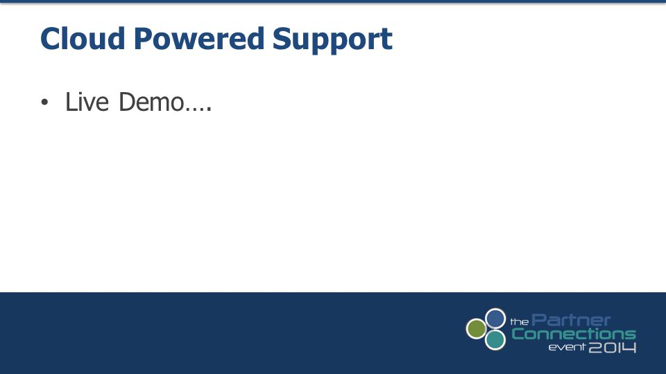 Live Demo…. Cloud Powered Support