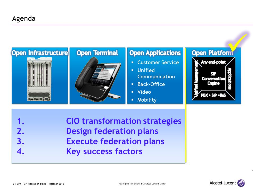 All Rights Reserved © Alcatel-Lucent 2010 2 | OP4 – SIP federation plans | October 2010 1.CIO transformation strategies 2.Design federation plans 3.Execute federation plans 4.Key success factors 1.CIO transformation strategies 2.Design federation plans 3.Execute federation plans 4.Key success factors Agenda  Customer Service  Unified Communication  Back-Office  Video  Mobility