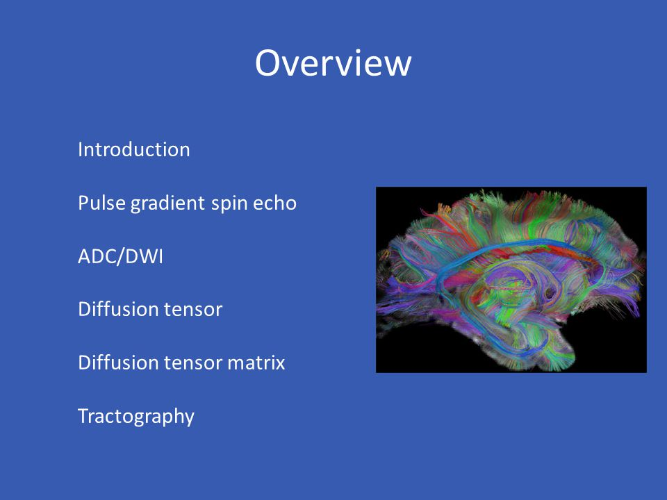 Overview Introduction Pulse gradient spin echo ADC/DWI Diffusion tensor Diffusion tensor matrix Tractography