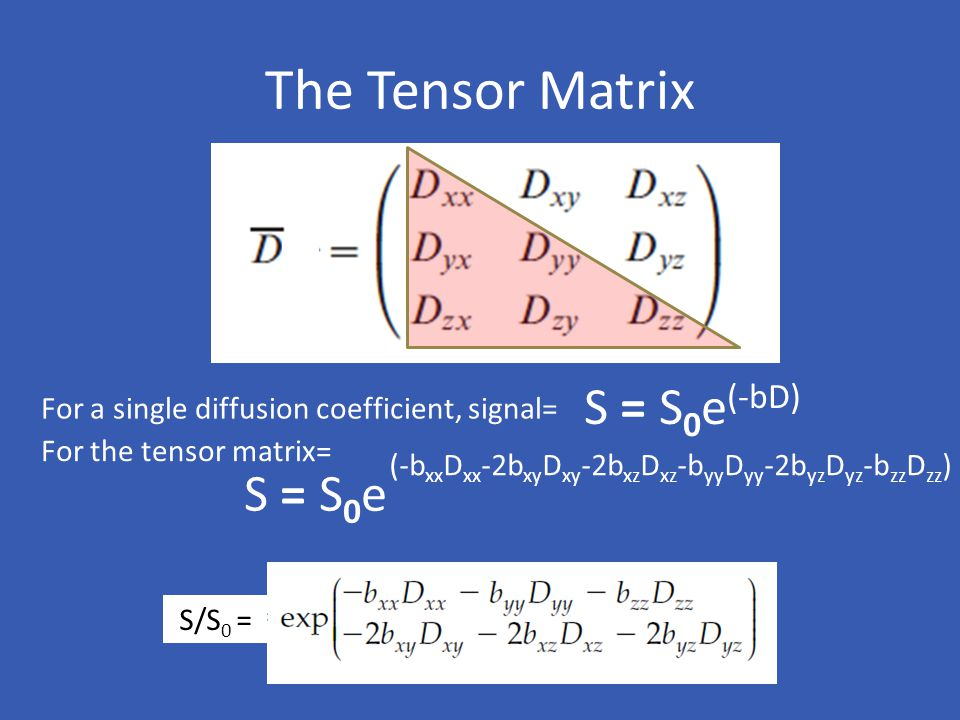 The Tensor Matrix S = S 0 e (-bD) S = S 0 e (-b xx D xx -2b xy D xy -2b xz D xz -b yy D yy -2b yz D yz -b zz D zz ) For a single diffusion coefficient