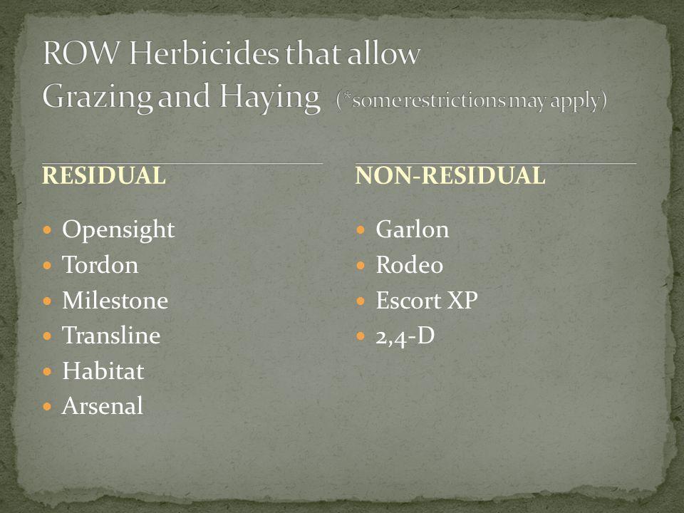 RESIDUAL Opensight Tordon Milestone Transline Habitat Arsenal Garlon Rodeo Escort XP 2,4-D NON-RESIDUAL