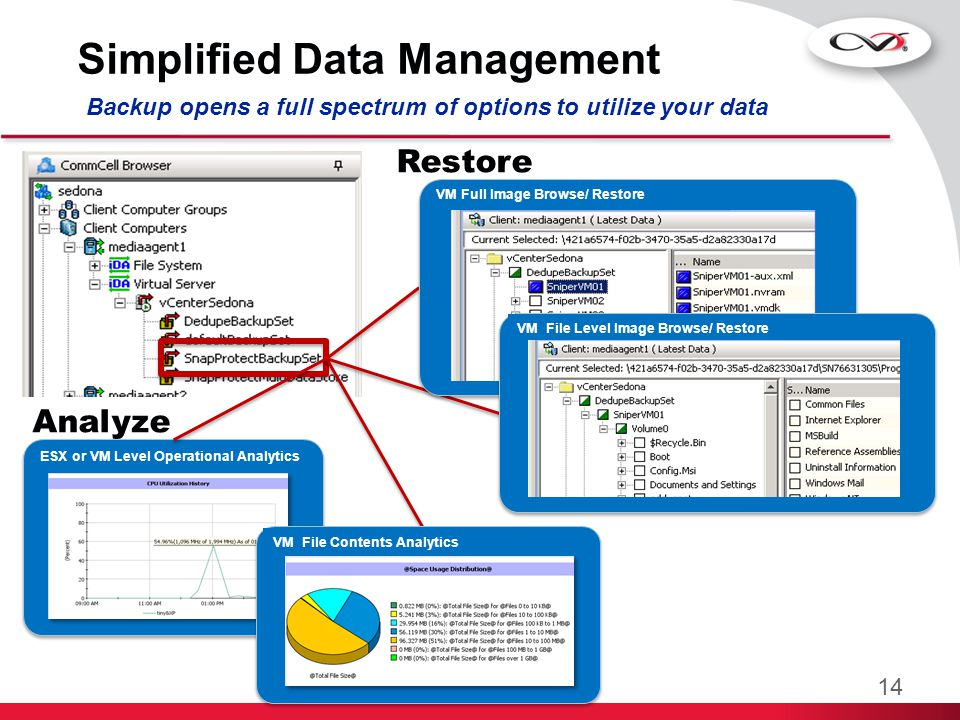Manageability and Monitoring Storage Resource Management Description Integrated SRM for reports describing the physical environment as well as the contents of individual VMs Benefits  No impact data collection: Reuse backup catalog.