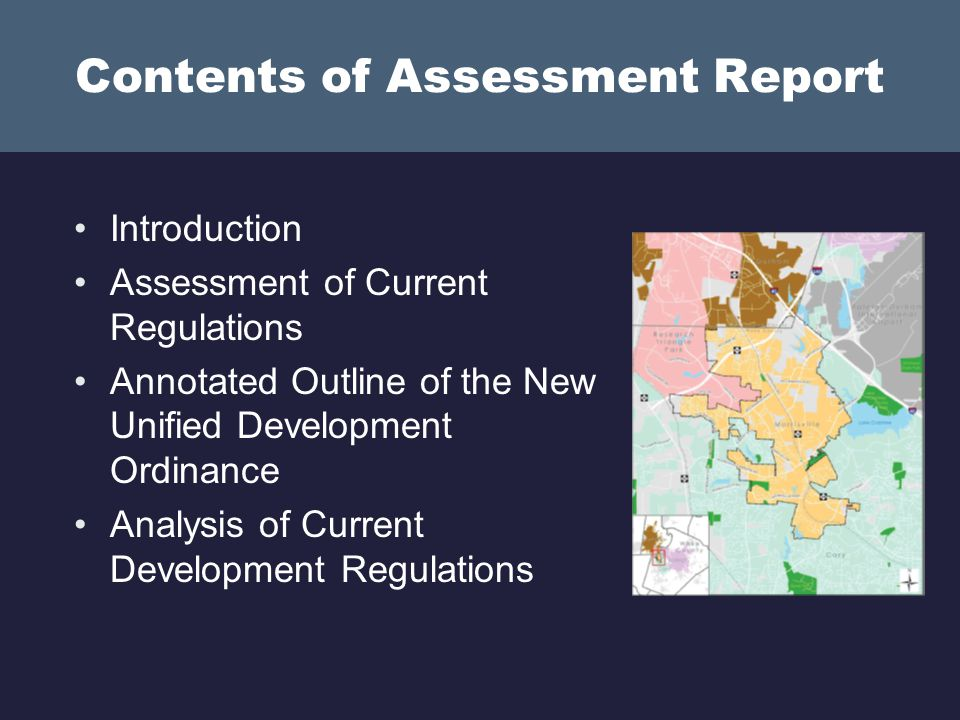 Assessment Report: Major Themes 1.Streamline the Development Review Process 2.Strike a Better Balance Between Flexibility and Creativity 3.Modify Zoning Districts to Implement the New Land Use Plan 4.Improve Development Quality 5.Increase User-Friendliness