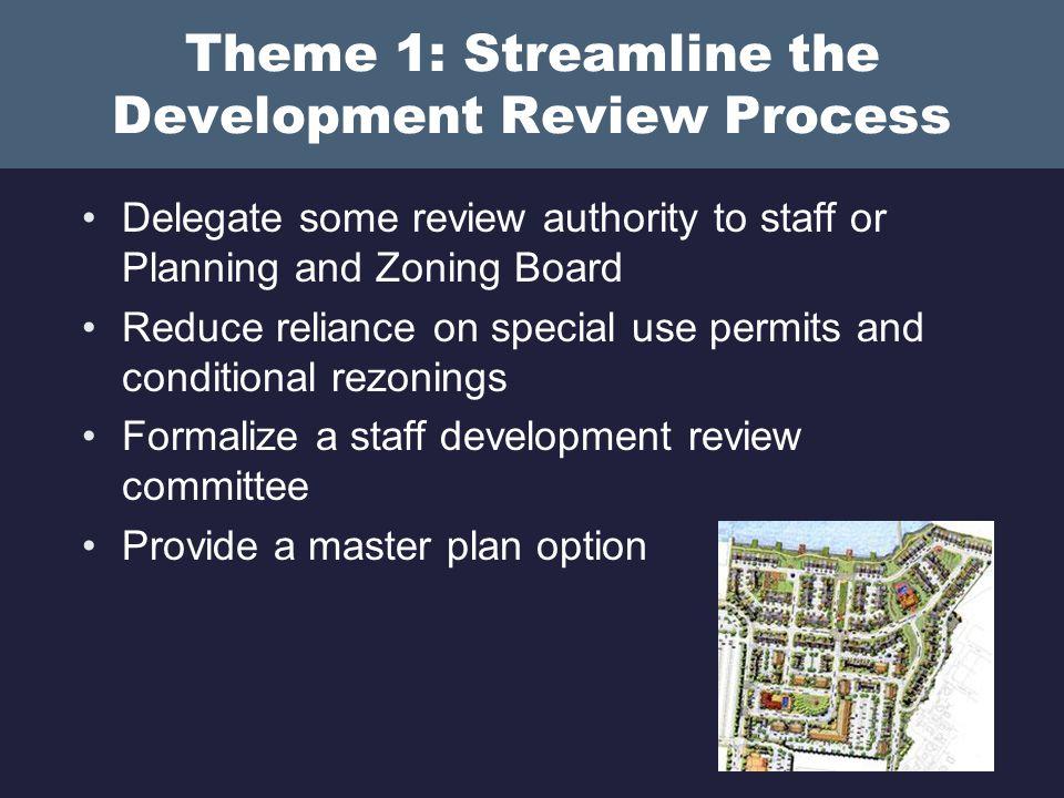 Theme 1: Streamline the Development Review Process Establish standard review procedures