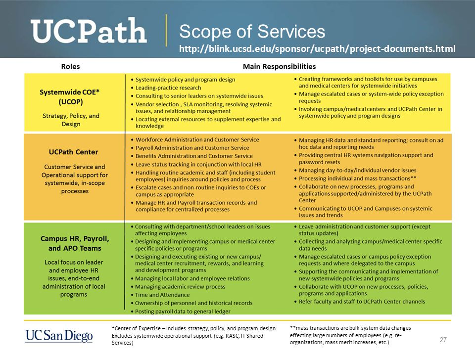 Scope of Services 27 *Center of Expertise – Includes strategy, policy, and program design. Excludes systemwide operational support (e.g. RASC, IT Shar