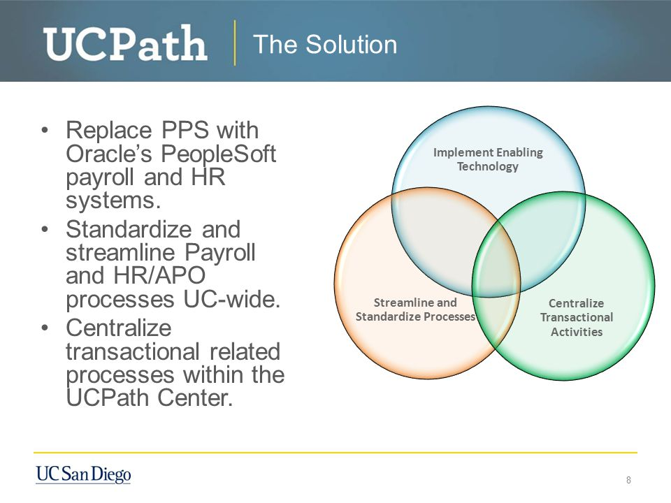 The Solution Replace PPS with Oracle's PeopleSoft payroll and HR systems. Standardize and streamline Payroll and HR/APO processes UC-wide. Centralize