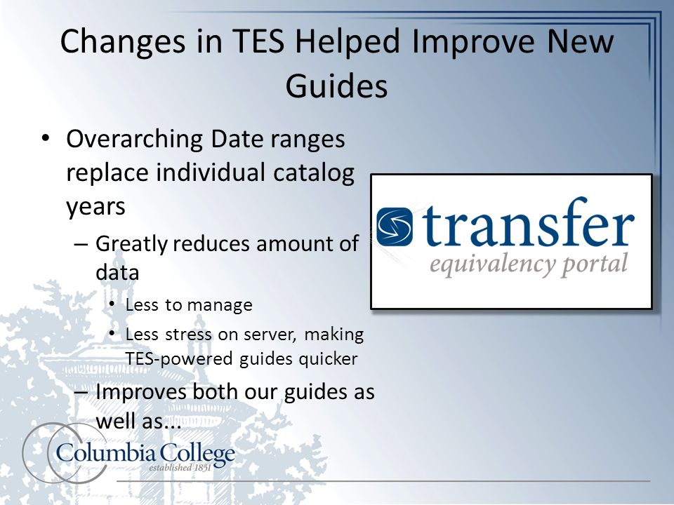 Changes in TES Helped Improve New Guides Overarching Date ranges replace individual catalog years – Greatly reduces amount of data Less to manage Less stress on server, making TES-powered guides quicker – Improves both our guides as well as...