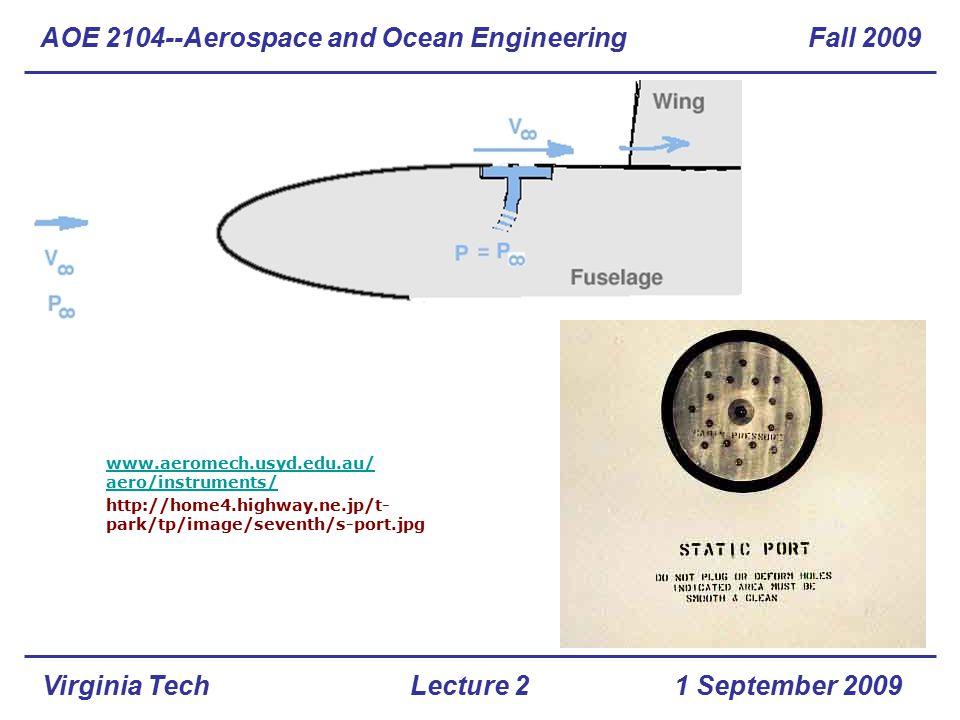 Virginia Tech www.aeromech.usyd.edu.au/ aero/instruments/ http://home4.highway.ne.jp/t- park/tp/image/seventh/s-port.jpg AOE 2104--Aerospace and Ocean