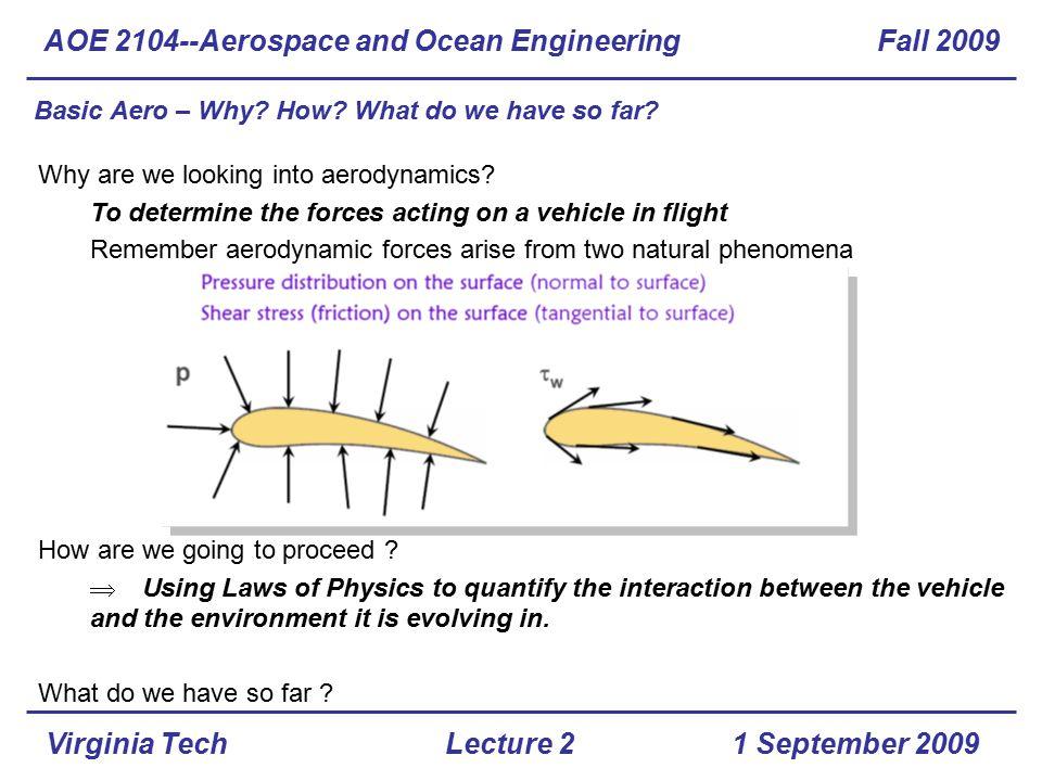 Virginia Tech Manometer AOE 2104--Aerospace and Ocean Engineering Fall 2009 1 September 2009Lecture 2
