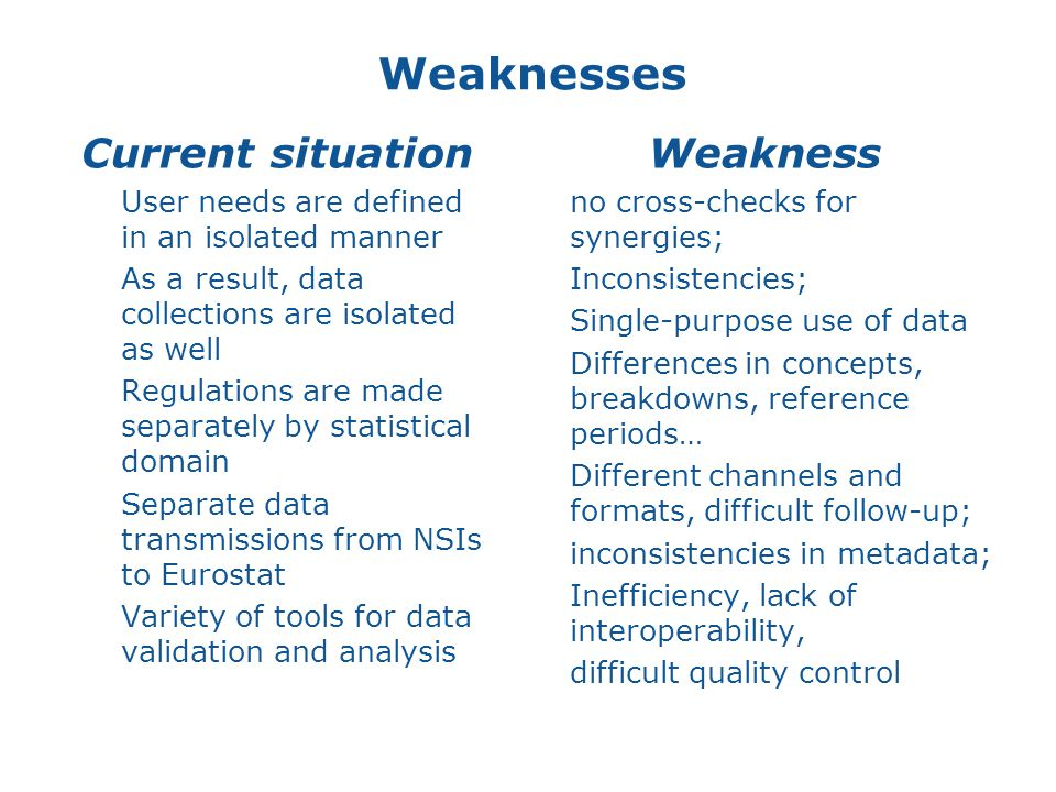 Weaknesses Current situation  User needs are defined in an isolated manner  As a result, data collections are isolated as well  Regulations are made separately by statistical domain  Separate data transmissions from NSIs to Eurostat  Variety of tools for data validation and analysis Weakness no cross-checks for synergies; Inconsistencies; Single-purpose use of data Differences in concepts, breakdowns, reference periods… Different channels and formats, difficult follow-up; inconsistencies in metadata; Inefficiency, lack of interoperability, difficult quality control 12