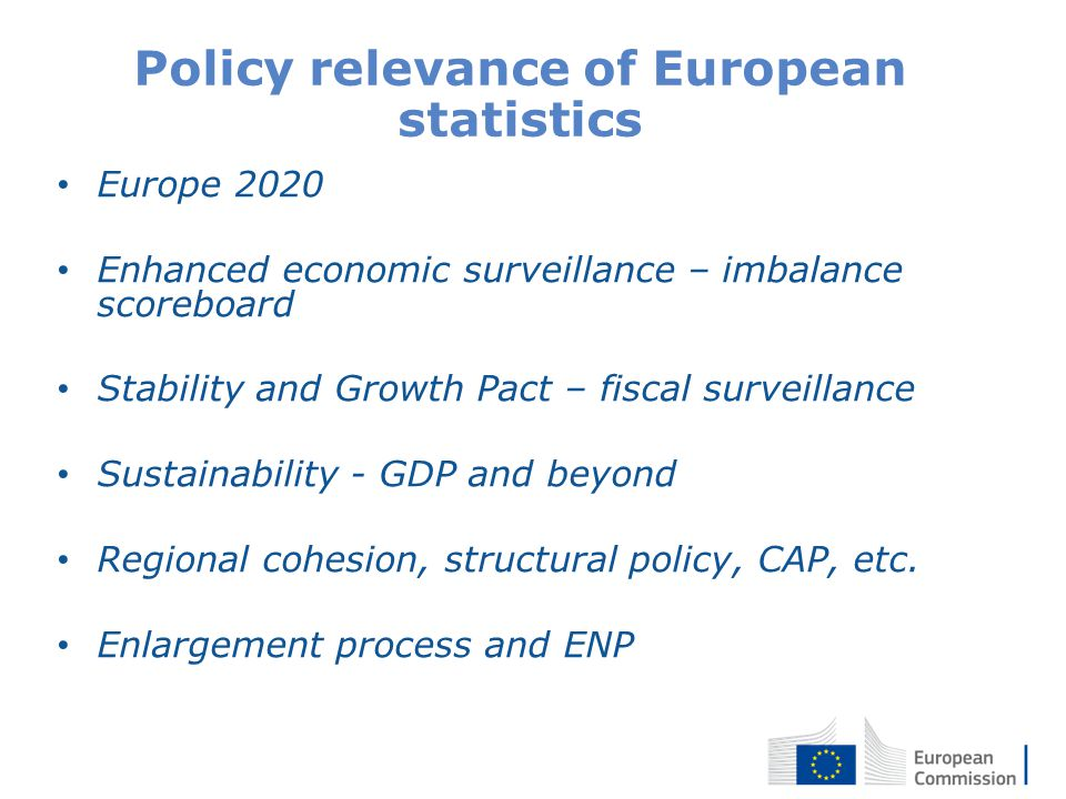3 Policy relevance of European statistics Europe 2020 Enhanced economic surveillance – imbalance scoreboard Stability and Growth Pact – fiscal surveillance Sustainability - GDP and beyond Regional cohesion, structural policy, CAP, etc.