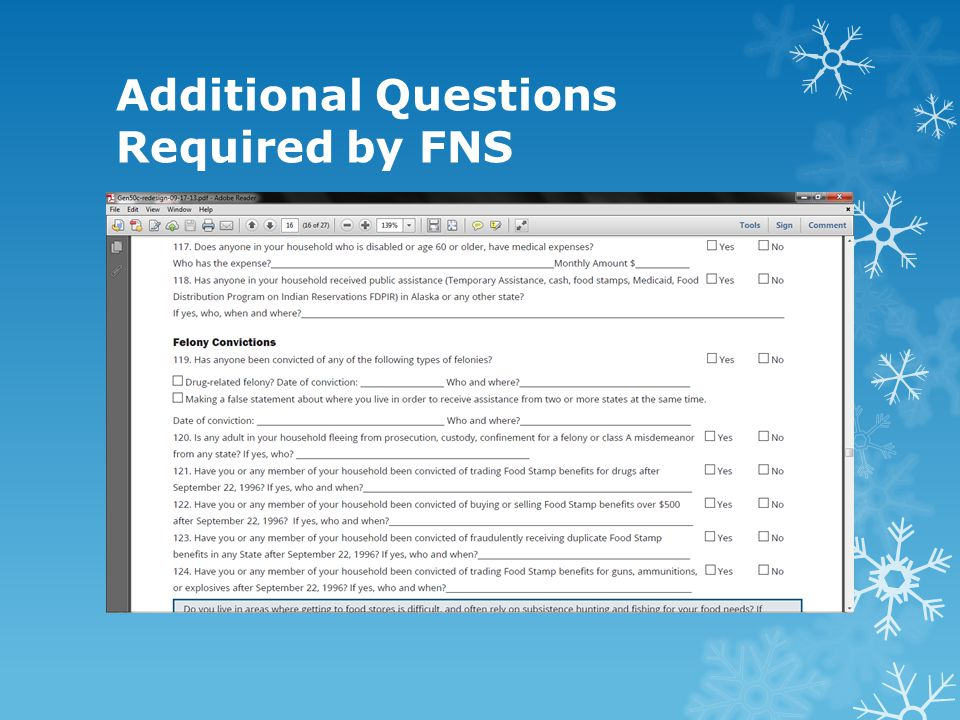 Additional Questions Required by FNS