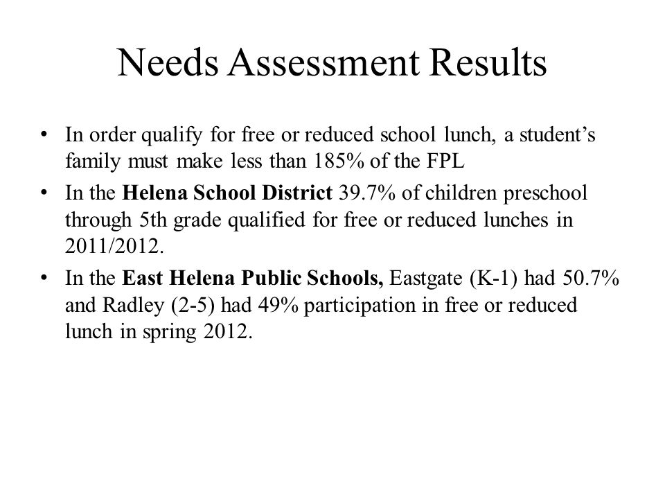 Needs Assessment Results In order qualify for free or reduced school lunch, a student's family must make less than 185% of the FPL In the Helena School District 39.7% of children preschool through 5th grade qualified for free or reduced lunches in 2011/2012.