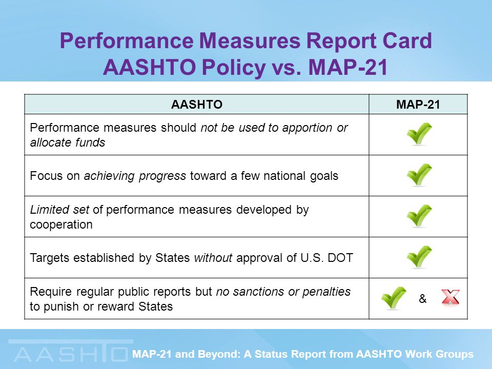 MAP-21 and Beyond: A Status Report from AASHTO Work Groups Performance Measures Report Card AASHTO Policy vs.