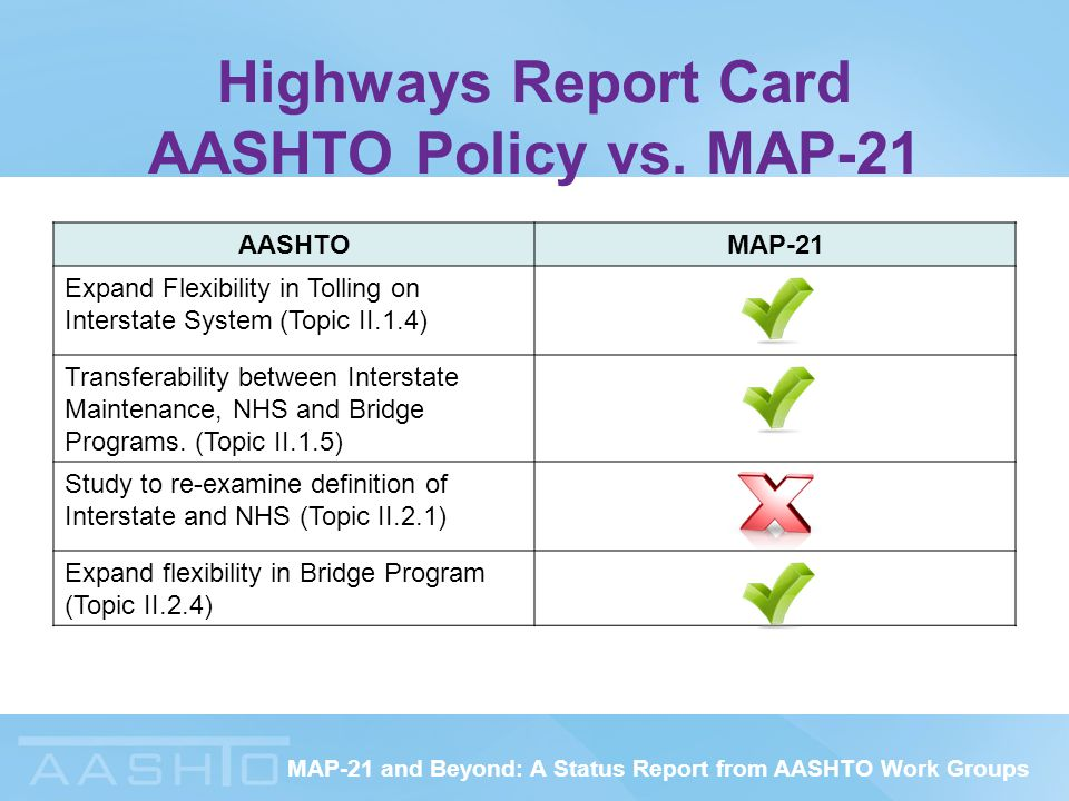 MAP-21 and Beyond: A Status Report from AASHTO Work Groups Highways Report Card AASHTO Policy vs.