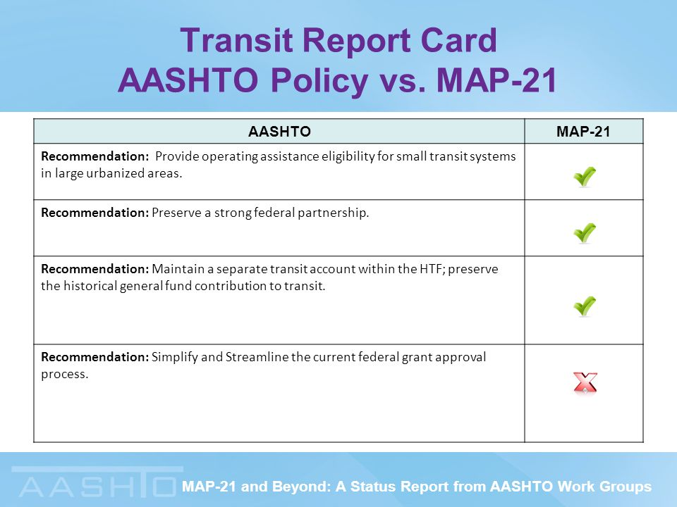 MAP-21 and Beyond: A Status Report from AASHTO Work Groups Transit Report Card AASHTO Policy vs.