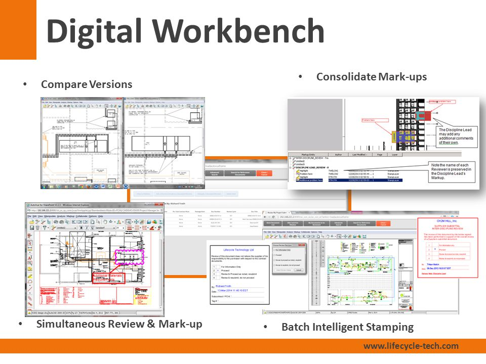 www.lifecycle-tech.com Digital Workbench Compare Versions Consolidate Mark-ups Simultaneous Review & Mark-up Batch Intelligent Stamping