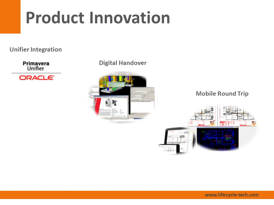 www.lifecycle-tech.com Product Innovation Unifier Integration Digital Handover Mobile Round Trip