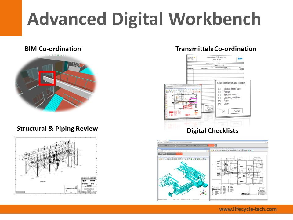 www.lifecycle-tech.com Advanced Digital Workbench Transmittals Co-ordination Structural & Piping Review BIM Co-ordination Digital Checklists