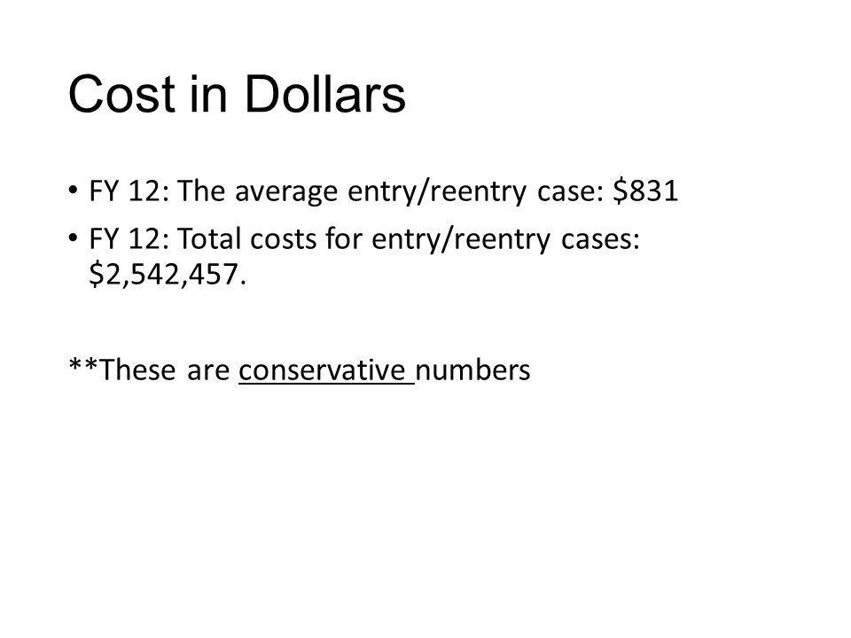 Cost in Dollars FY 12: The average entry/reentry case: $831 FY 12: Total costs for entry/reentry cases: $2,542,457. **These are conservative numbers