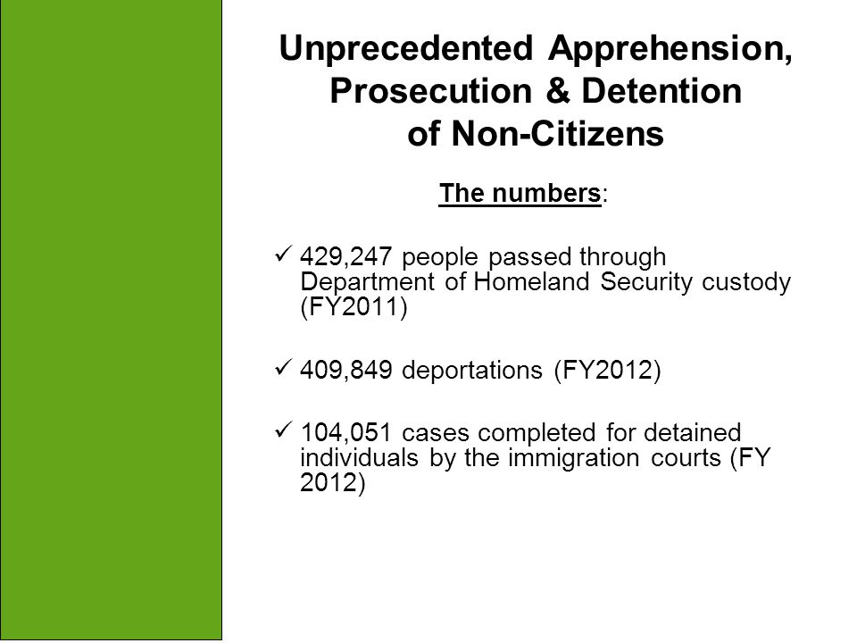 Unprecedented Apprehension, Prosecution & Detention of Non-Citizens The numbers: 429,247 people passed through Department of Homeland Security custody