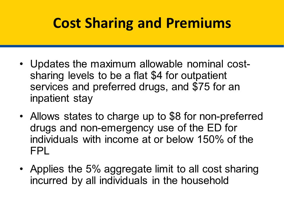 Cost Sharing and Premiums Updates the maximum allowable nominal cost- sharing levels to be a flat $4 for outpatient services and preferred drugs, and $75 for an inpatient stay Allows states to charge up to $8 for non-preferred drugs and non-emergency use of the ED for individuals with income at or below 150% of the FPL Applies the 5% aggregate limit to all cost sharing incurred by all individuals in the household