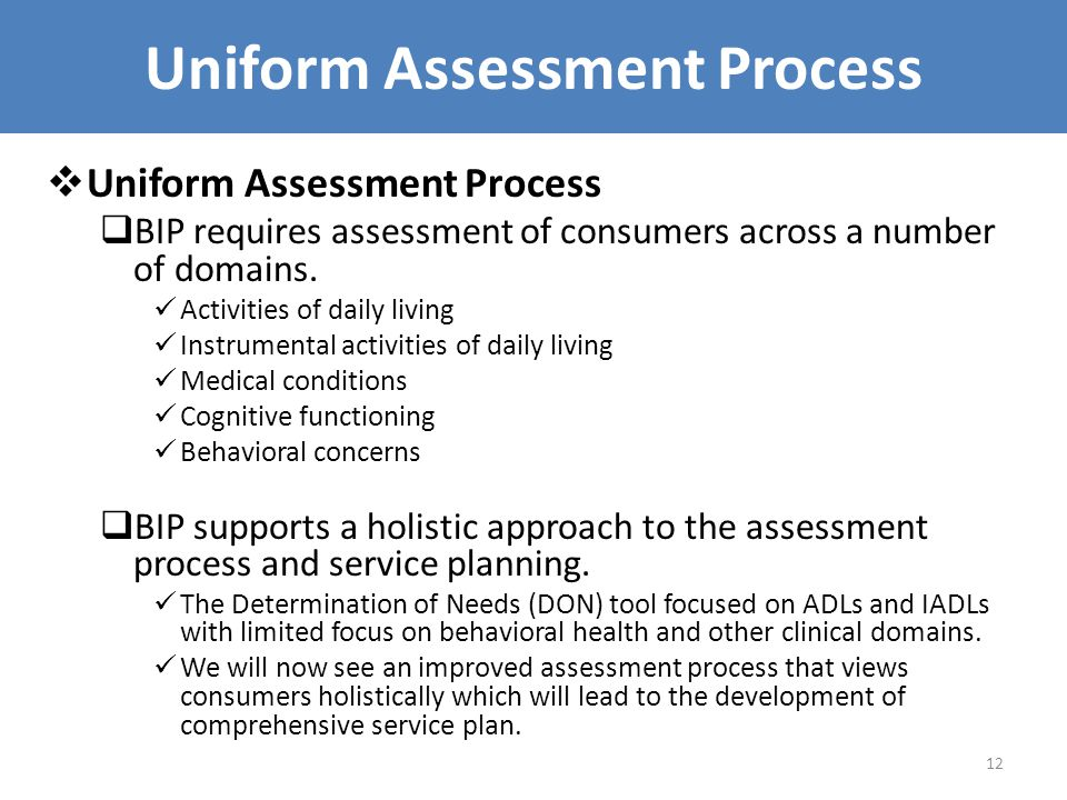 Uniform Assessment Process  Uniform Assessment Process  BIP requires assessment of consumers across a number of domains.