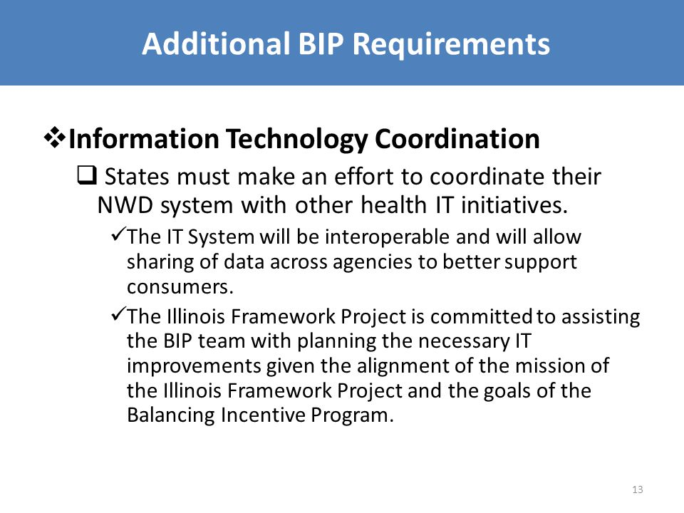 Additional BIP Requirements  Information Technology Coordination  States must make an effort to coordinate their NWD system with other health IT initiatives.