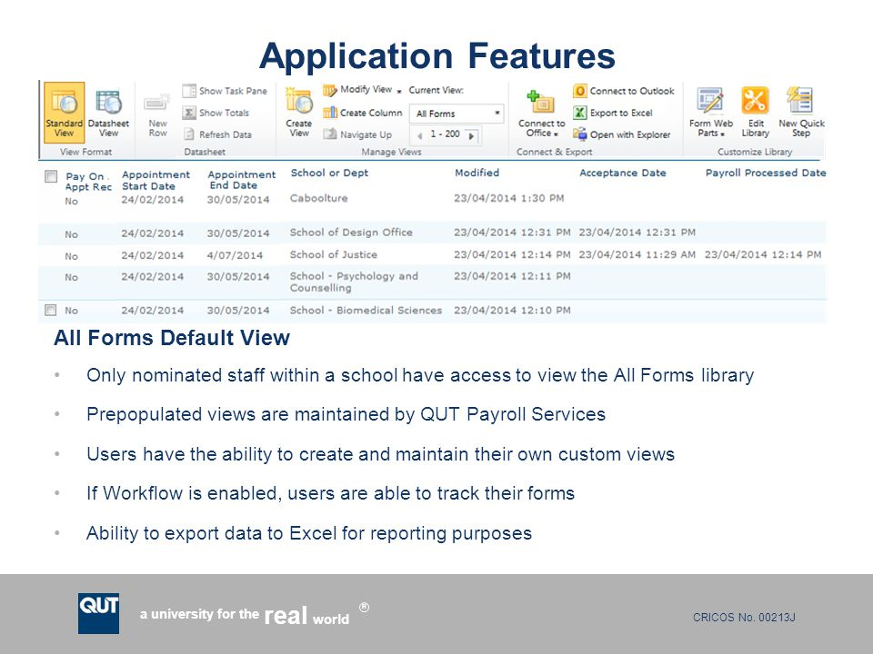 CRICOS No. 00213J a university for the world real R Application Features All Forms Default View Only nominated staff within a school have access to vi