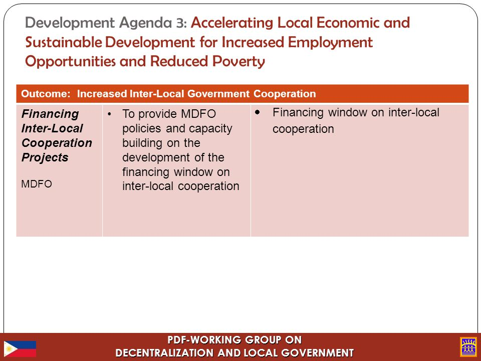 PDF-WORKING GROUP ON DECENTRALIZATION AND LOCAL GOVERNMENT Development Agenda 3: Accelerating Local Economic and Sustainable Development for Increased Employment Opportunities and Reduced Poverty Outcome: Increased Inter-Local Government Cooperation Financing Inter-Local Cooperation Projects MDFO To provide MDFO policies and capacity building on the development of the financing window on inter-local cooperation  Financing window on inter-local cooperation