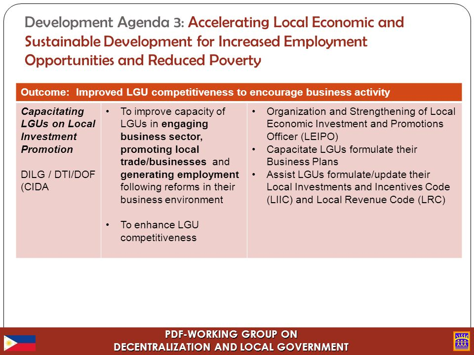 PDF-WORKING GROUP ON DECENTRALIZATION AND LOCAL GOVERNMENT Development Agenda 3: Accelerating Local Economic and Sustainable Development for Increased