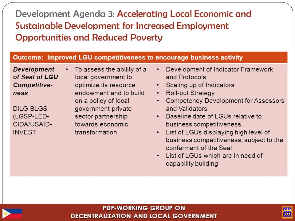 PDF-WORKING GROUP ON DECENTRALIZATION AND LOCAL GOVERNMENT Development Agenda 3: Accelerating Local Economic and Sustainable Development for Increased Employment Opportunities and Reduced Poverty Outcome: Improved LGU competitiveness to encourage business activity Development of Seal of LGU Competitive- ness DILG-BLGS (LGSP-LED- CIDA/USAID- INVEST To assess the ability of a local government to optimize its resource endowment and to build on a policy of local government-private sector partnership towards economic transformation Development of Indicator Framework and Protocols Scaling up of Indicators Roll-out Strategy Competency Development for Assessors and Validators Baseline date of LGUs relative to business competitiveness List of LGUs displaying high level of business competitiveness, subject to the conferment of the Seal List of LGUs which are in need of capability building