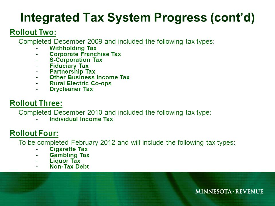 Rollout Two: Completed December 2009 and included the following tax types: -Withholding Tax -Corporate Franchise Tax -S-Corporation Tax -Fiduciary Tax -Partnership Tax -Other Business Income Tax -Rural Electric Co-ops -Drycleaner Tax Rollout Three: Completed December 2010 and included the following tax type: -Individual Income Tax Rollout Four: To be completed February 2012 and will include the following tax types: -Cigarette Tax -Gambling Tax -Liquor Tax -Non-Tax Debt Integrated Tax System Progress (cont'd)