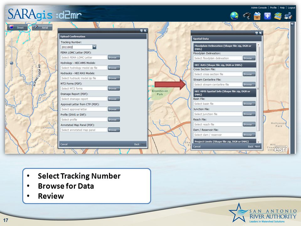 17 Select Tracking Number Browse for Data Review