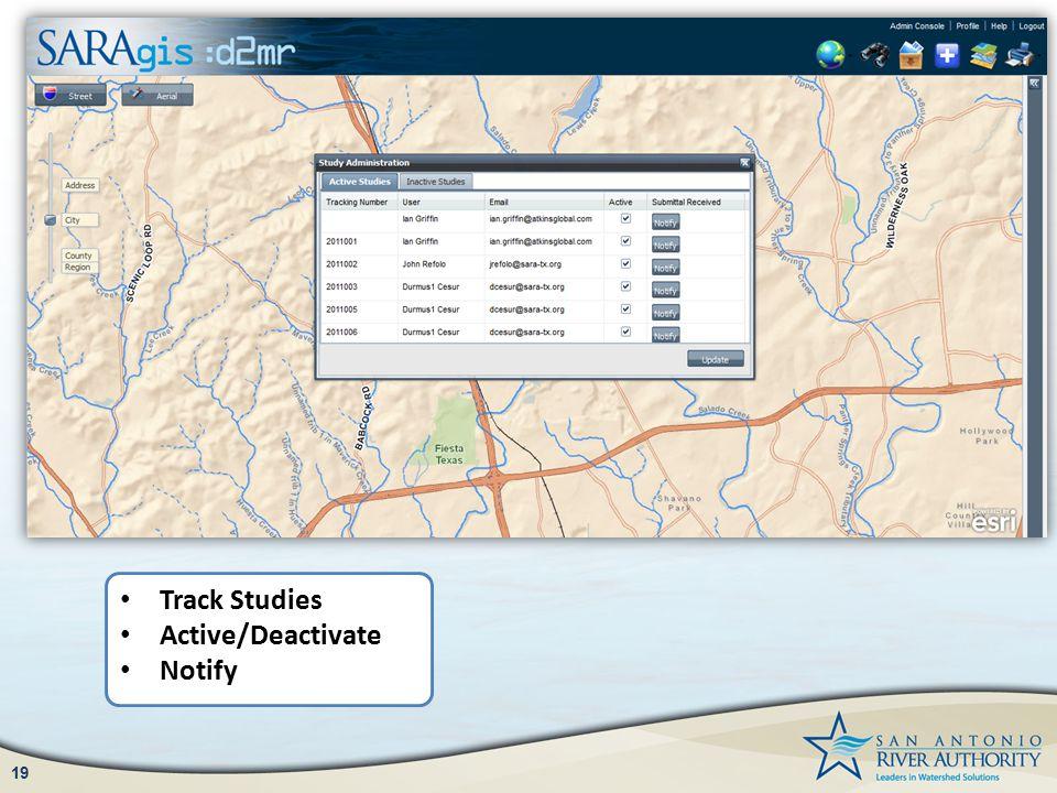 19 Track Studies Active/Deactivate Notify