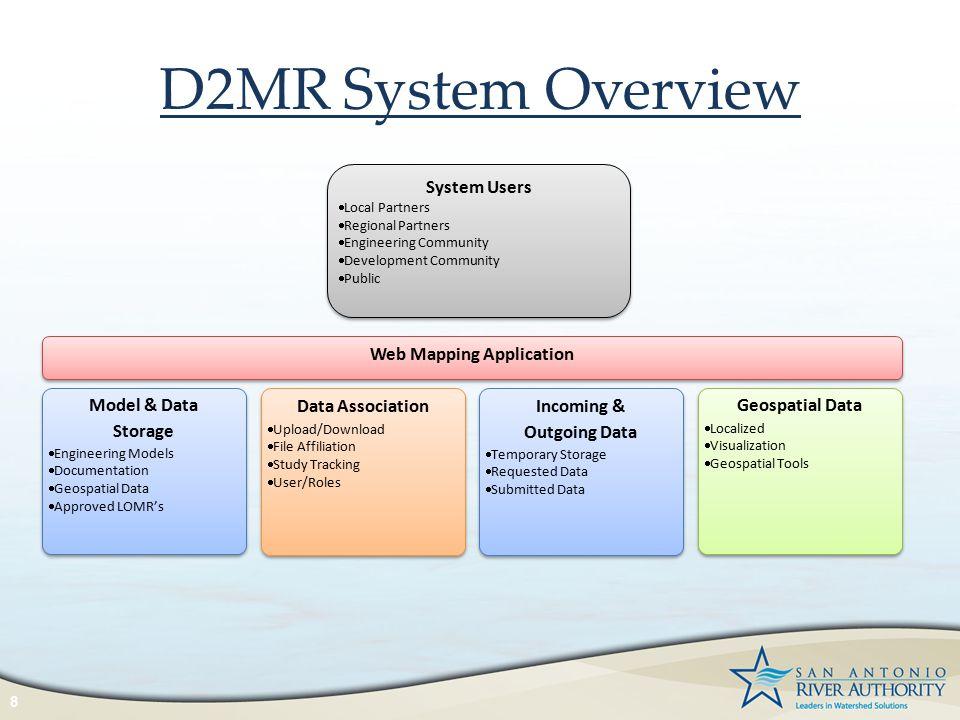 D2MR System Overview 8 Model & Data Storage  Engineering Models  Documentation  Geospatial Data  Approved LOMR's Model & Data Storage  Engineerin