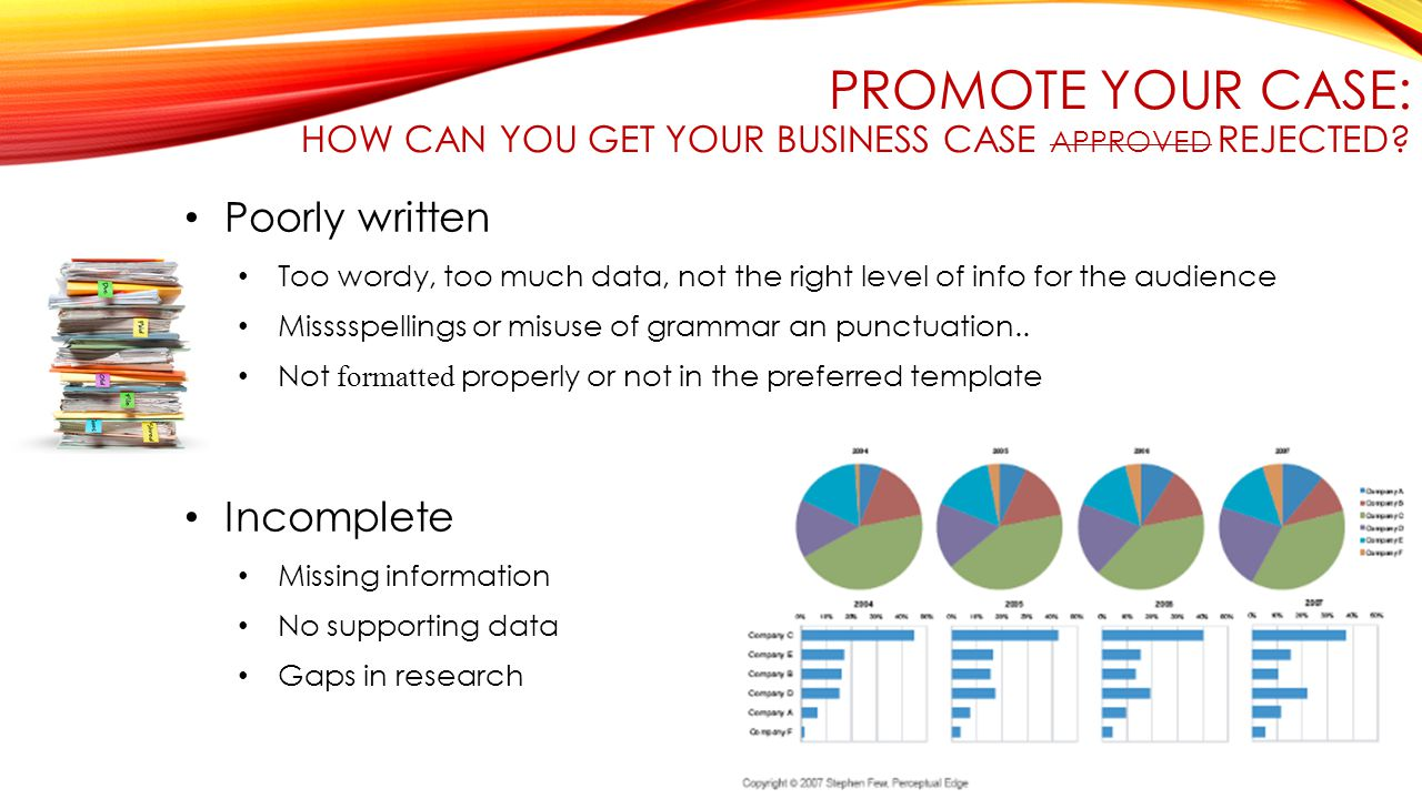 PROMOTE YOUR CASE: HOW CAN YOU GET YOUR BUSINESS CASE APPROVED REJECTED.