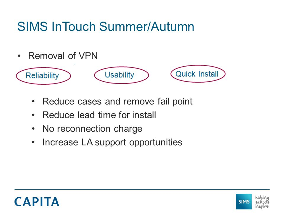 SIMS InTouch Summer/Autumn Removal of VPN Reduce cases and remove fail point Reduce lead time for install No reconnection charge Increase LA support opportunities