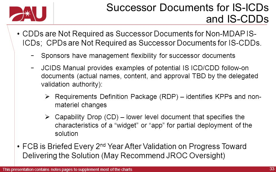 This presentation contains notes pages to supplement most of the charts 33 Successor Documents for IS-ICDs and IS-CDDs CDDs are Not Required as Successor Documents for Non-MDAP IS- ICDs; CPDs are Not Required as Successor Documents for IS-CDDs.