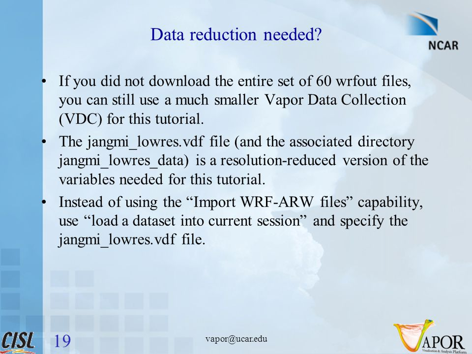 Data reduction needed.