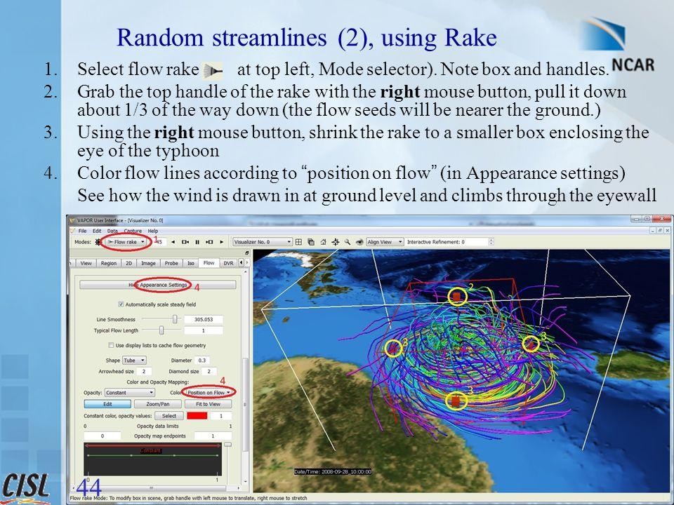 vapor@ucar.edu Random streamlines (2), using Rake 1.Select flow rake ( at top left, Mode selector).