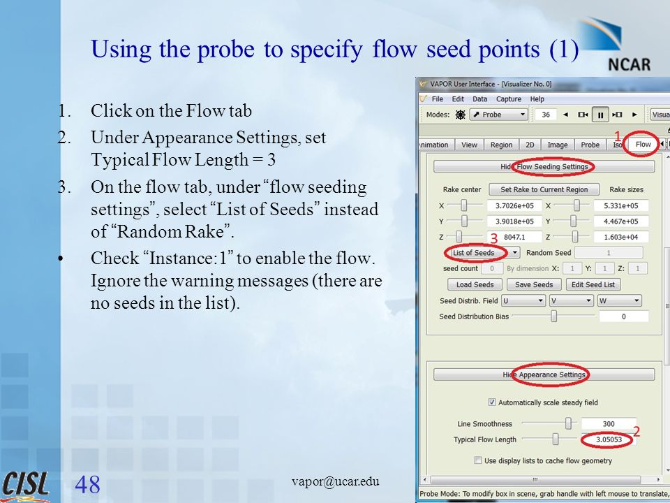 Using the probe to specify flow seed points (1) 1.Click on the Flow tab 2.Under Appearance Settings, set Typical Flow Length = 3 3.On the flow tab, under flow seeding settings , select List of Seeds instead of Random Rake .
