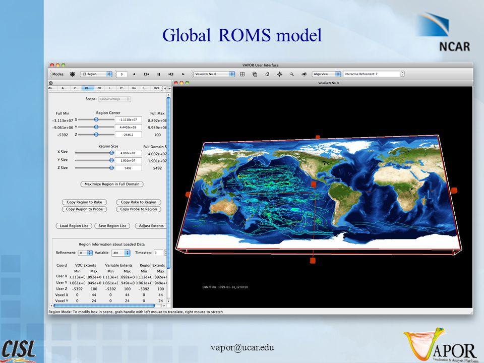 Global ROMS model vapor@ucar.edu